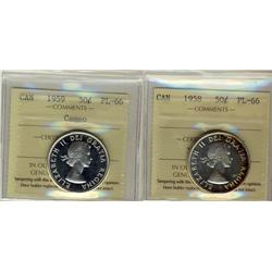 1958 & 1959 50¢ ICCS PL66.  Lot of 2 coins, 1959 cameo.