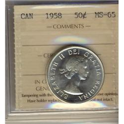 1958 50¢ ICCS MS65.  Blast white.