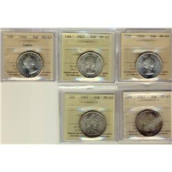1960 50¢, 1962, 1964, 1965 & 1967 ICCS MS65.  Lot of 5 coins, 1964 Cameo.