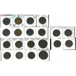 Various colonial tokens, includes two blacksmiths.  Good to EF. Lot of 10 pieces.  Should be viewed.