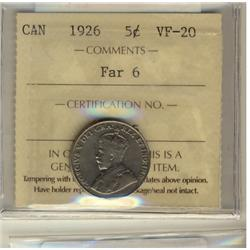 1926 5¢ Far 6 ICCS VF20.