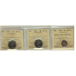 1909 5¢ Rd Lvs Bow Tie, 1932 & 1934 ICCS AU55.  Lot of 3 coins.
