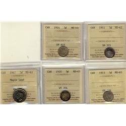 1911 5¢, 1914, 1913, 1920 & 1947 ML ICCS MS63.  Lot of 5 coins.