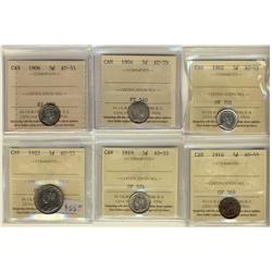 1920 5¢, 1904, 1906, 1916, 1919 & 1922 ICCS AU55.  Lot of 6 coins.