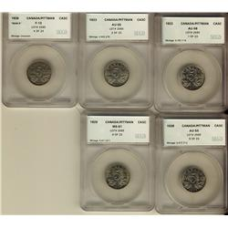1922 5¢ AU58, 1923 AU55, 1926 Nr F12, 1928 AU55 & 1929 MS61.  Lot of 5 coins all SEGS graded.  Shoul