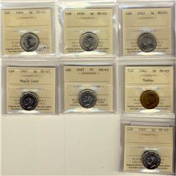 1922 5¢, 1939, 1940, 1942 Tom, 1947, 1947 ML & 1948 ICCS MS63.  Lot of 7 coins.