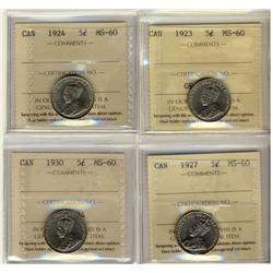 1923 5¢, 1924, 1927 & 1930 ICCS MS60.  Lot of 4 coins.