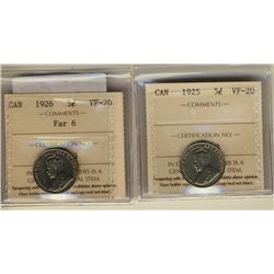 1925 & 1926 Far ICCS VF20.  Lot of 2 coins.