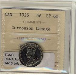 1925 5¢ ICCS SP60. Rarely offered in Specimen. Designated corrosion.