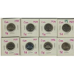 1927, 1929 (2), 1939, 1941, 1946, 1951 LR, 1951 Comm 5¢, lot of 8 pieces.  Grades vary from EF-40 to