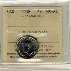 1938 5¢ ICCS MS64.  Great lustre.  So close to Gem.