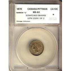 1870 10¢ Narrow 0 SEGS MS62.  Pittman example and designated with scratch on Obv.