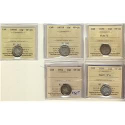 1870 10¢ Wd 0, 1871H, 1890H, 1899 Sml 9's & 1902 ICCS VF20.  Lot of 5 coins.