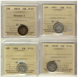 1871 10¢, 1881H Obv 3, 1883H & 1904 ICCS F15.  Lot of 4 coins.