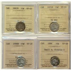 1871H 10¢, 1882H, 1886 Sml 6 Obv 5 & 1890H ICCS VF20.  Lot of 4 coins.