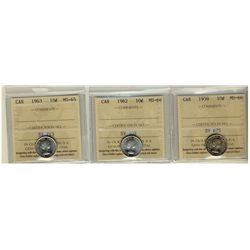 1872H 25¢ F12, 1881H F15 & 1902H VF20.  Lot of 3 ICCS graded coins.