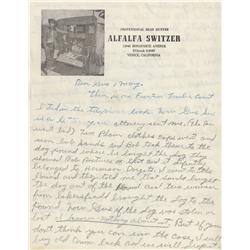 "Our Gang child star Carl ""Alfalfa"" Switzer handwritten letters"