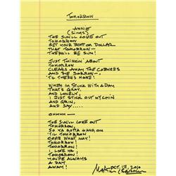 "Martin Charnin autograph manuscript lyrics to ""Tomorrow"" from the Broadway production of Annie"