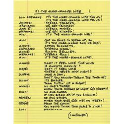 "Martin Charnin autograph manuscript lyrics to ""It's the Hard-Knock Life"" from Annie"