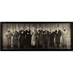 Vintage panoramic photo of 1939 Hollywood Cads Review benefit performance for Bundles for Britain