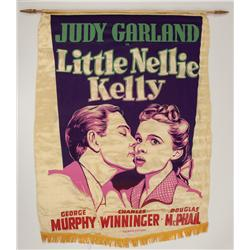 "Little Nellie Kelly silk and wooden dowel ""burgee"" banner"