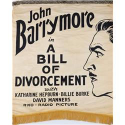 A Bill of Divorcement silkscreened-canvas banner