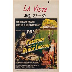 Creature from the Black Lagoon complete untrimmed 3-D window card