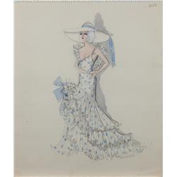 Edith Head costume sketch for Carroll Baker in Harlow