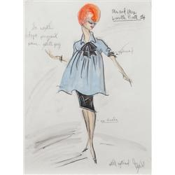 Edith Head costume sketch for Lucille Ball in Mr. And Mrs.