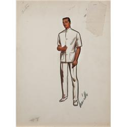Travilla costume sketch of Richard Burton from The Rains of Ranchipur