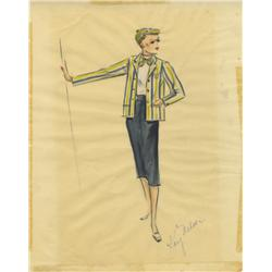 Kay Nelson costume sketch of Leslie Caron for Daddy Long Legs