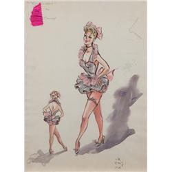 Edith Head costume sketch for Rosemary Clooney in Red Garters