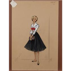 Bill Thomas costume sketch for Sandra Dee in The Restless Years