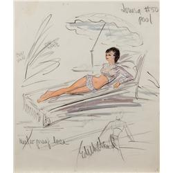 Edith Head costume sketch for Shirley MacLaine in What a Way to Go!