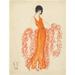 Costume sketch of Evelyn Nesbit Thaw from either The Girl in the Red Velvet Swing or Ragtime