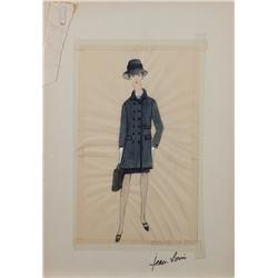 Jean Louis costume sketch of Rosalind Russell for Rosie!