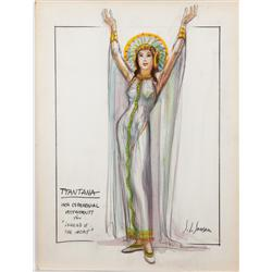 John L. Jensen costume sketch of Yma Sumac for Secret of the Incas