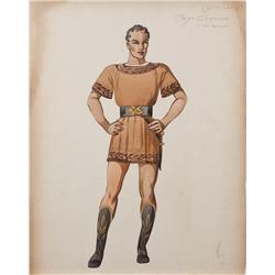 Costume sketch of Robert Taylor for Quo Vadis attributed to Herschel McCoy and sketched by Valles