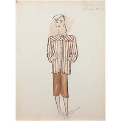 Bonnie Cashin costume sketch of Gene Tierney for Laura