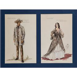 Pair of Marjorie Best costume sketches of John Wayne and Ina Balin for The Comancheros