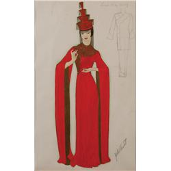 Walter Plunkett costume sketch of Anna May Wong for A Study in Scarlet