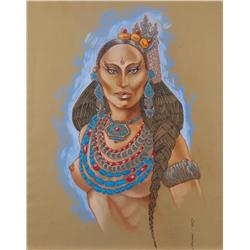 Wayne Finkleman oversize costume sketch of exotic native woman for The Golden Child