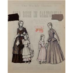 John Truscott costume sketch of pioneer woman and child for Paint Your Wagon