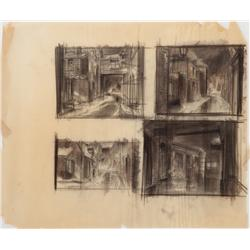 Charcoal storyboards and drawings from A Christmas Carol