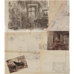 Charcoal storyboards, blueprints, and concept art for Gaslight