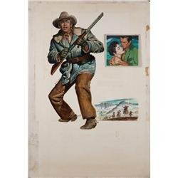 Original maquette painting of poster art for the Jimmy Stewart western The Far Country