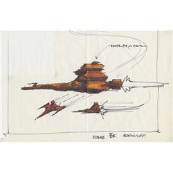 Original Draconian ship concept artwork from Buck Rogers in the 25th Century