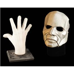 Bizarro screen-used mask and vintage casting of Bizarro's hand from Lois & Clark: The New Adventures