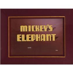 Original title animation cel for 1936 Disney cartoon Mickey's Elephant