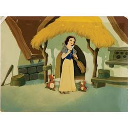 Snow White and the Seven Dwarfs original 1937 production cel of Snow White and two chipmunks